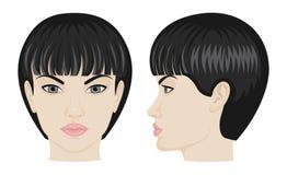 Gesicht des Mädchens in der Front und in der Seite Stockfotografie