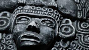 Gesicht des südamerikanischen Azteken der alten Kunst, Inka, olmeca stock footage