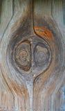 Gesicht in einer alten krankhaften Tür Stockfoto