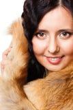 Gesicht einer Frau mit Pelz Stockfotos