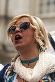 Gesicht einer Frau verkleidet Lizenzfreies Stockfoto