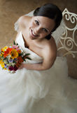 Gesicht einer glücklichen jungen Braut Lizenzfreies Stockfoto