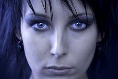 Gesicht einer Goth Frau stockfoto