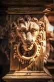 Gesicht eines geschnitzten hölzernen Löwes Stockfotografie