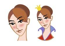 Gesicht eines jungen Mädchens und der Prinzessin Vektor Abbildung