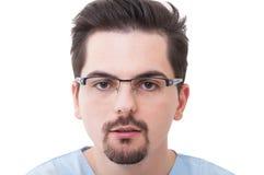 Gesicht eines jungen männlichen Zahnarztes Stockfoto