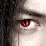 Gesicht eines jungen männlichen Vampirsabschlusses oben Lizenzfreie Stockfotografie
