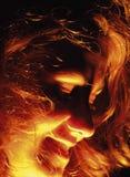 Gesicht im Feuer stockbilder