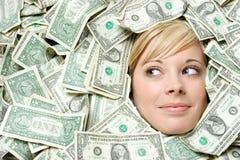 Gesicht im Geld Stockfotos