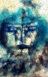 Gesicht im geometrischen anredenden abstrakten geometrischen Hintergrund Stockfotos