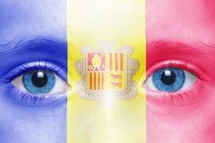 Gesicht mit Andorra-Flagge Stockbilder