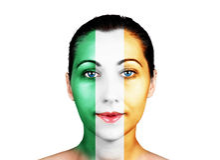Gesicht mit der Irland-Flagge Lizenzfreies Stockbild