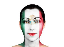 Gesicht mit der Mexiko-Flagge stockbilder