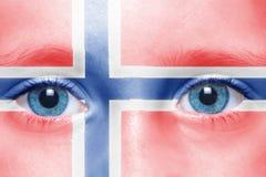 Gesicht mit norwegischer Flagge Stockbilder