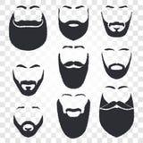Gesicht mit Schnurrbart- und Bartvektorlogosatz Mannfriseursalonemblem Lizenzfreie Stockfotos