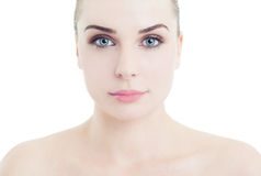 Gesicht und Schultern einer perfekten Hautfrau Stockfoto