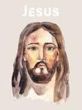Gesicht von Jesus Christ, niedrige Polyaquarellvektorillustration lizenzfreie abbildung