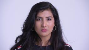 Gesicht von Jungen betonte die persische Frau, die traurig und deprimiert schaut stock footage