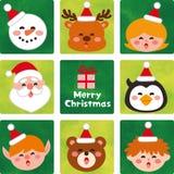 Gesicht von netten Weihnachtscharakteren lizenzfreie abbildung