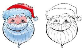 Gesicht von Santa Claus in einem roten Hut mit weißem Pelzsymbol des neuen Jahres Lizenzfreies Stockfoto