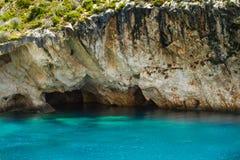 Gesicht Zakynthos Porto Vromi Poseidons Stockfotografie