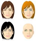 Gesichter der Frauen, verschiedene Farbenaugen und Haar vektor abbildung