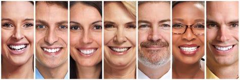 Gesichter der glücklichen Menschen eingestellt lizenzfreies stockbild