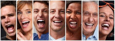 Gesichter der glücklichen Menschen lizenzfreie stockbilder