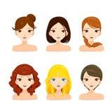 Gesichter der jungen Frauen mit den verschiedenen Frisuren eingestellt Stockbilder