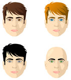 Gesichter der Männer, verschiedene Farbenaugen und Haar lizenzfreie abbildung