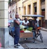 Gesichter des Kuba-Blumen-Warenkorb-Verkäufers stockfotografie