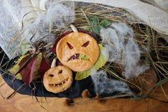 Gesichter in Form eines Kürbises Halloween Lizenzfreies Stockbild