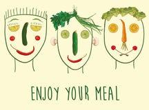 Gesichter gemacht von den Obst und Gemüse von stock abbildung