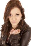 Gesichts-Ausdruckfrauen-Schlagkuß stockfoto