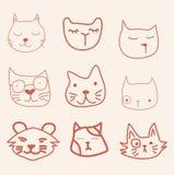 Gesichts-Katzenvektor des Handabgehobenen betrages Stockbilder
