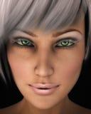 Gesichts-Nahaufnahme-Abbildung der schönen Frau Stockfotos