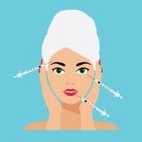 Gesichts-Sorgfalt und Behandlungs-flache Vektor-Illustration Lizenzfreie Stockbilder