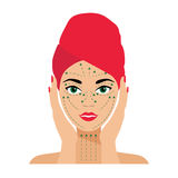 Gesichts-Sorgfalt und Behandlungs-flache Vektor-Illustration Stockfotos