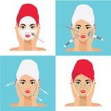 Gesichts-Sorgfalt und Behandlungs-flache Vektor-Illustration Mesotherapy, Einspritzungen, Maske, Massage-Linien Stockfotografie