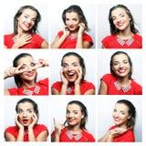 Gesichtsausdrücke der jungen Frau zusammengesetzt lizenzfreie stockfotos
