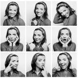 Gesichtsausdrücke der jungen Frau zusammengesetzt lizenzfreie stockbilder