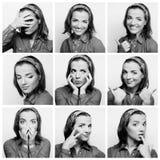 Gesichtsausdrücke der jungen Frau zusammengesetzt stockfotografie