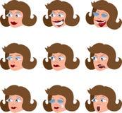 Gesichtsausdrücke der verschiedenen Frau Stockfotos