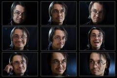 Gesichtsausdrücke des jungen Mannes zusammengesetzt stockfotos