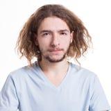 Gesichtsausdruck, zweifelhafter Gesicht verziehendes Mann, Ausschnitt Stockfotos