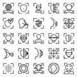 Gesichtserkennungssystem-Ikonensatz, Entwurfsart stock abbildung