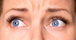 Gesichtsfrau mit Augen und den Wimpern Stockfoto