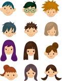 Gesichtsikone der jungen Leute der Karikatur Lizenzfreie Stockfotos