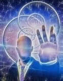 Gesichtslose Zahl strahlt Licht von der Hand aus Stockfotos