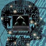 Gesichtsloses Computerhacker-Gefahrenkonzept lizenzfreies stockfoto